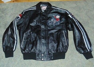 Betty Boop Motorcycle Club Black Leather Bomber Coat Jacket NWT Size L