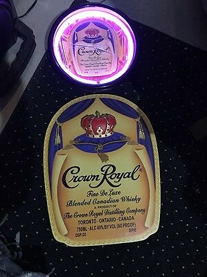 CROWN ROYAL WHISKEY NEON LIGHTED CLOCK & WOOD SIGN Rare MINT CONDITION.....MtnMn