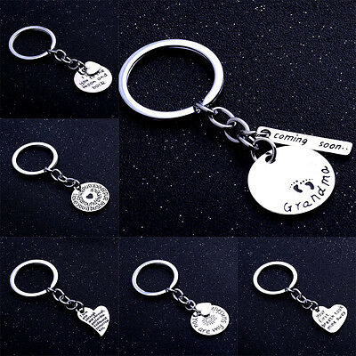 Romantic Love Heart Keyring Family Grandma Keychain Lovers Friends Gifts Silver