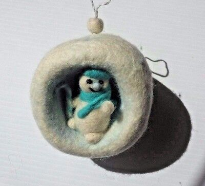 Snowmen  OOAK  3 D Textile Wool Art Felted Wool Painting Hand Made Ornament