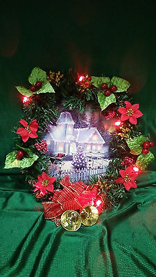 """Fiber Optic & Led Lights Christmas Wreath With Lighted Winter Scene 12"""" Wide"""