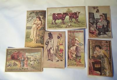 Set Of 7 Advertising Victorian Trade Cards Trading Hides Chicago Expo Ironware