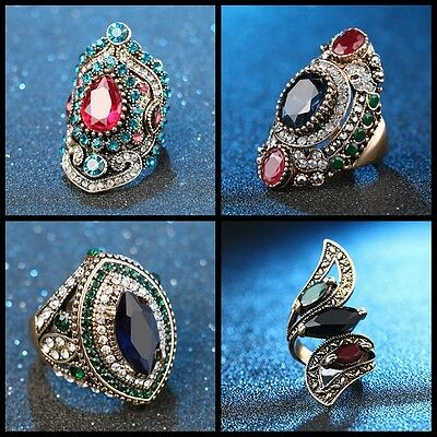 Size 7,8,9,10 Women Men Turkish Jewelry Vintage Gold Plated Crystal Wedding Ring
