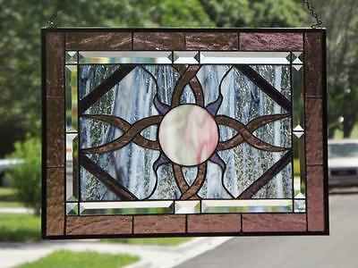 "• COSMIC •Beveled Stained Glass Window Panel • 21 ½"" X15 ½""(55x39Cm)"