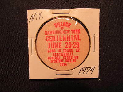 1974 Hamburg, New York Wooden Nickel token - Hamburg, NY 100th Wooden Coin RED