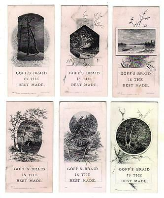 Lot of 6 1870s  GOFF'S BRAID for BINDING & TRIMMING Trade Cards STEEL ENGRAVINGS