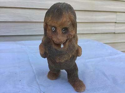 """Vintage 5"""" Wooden Hand Carved Troll Figure Made in Norway 853"""