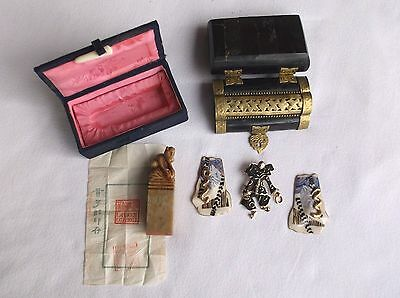 Antique BABOON Stamper, ORIENTAL Keepsake Boxes w/ JEWELRY