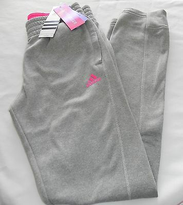 New Girls M 10/12 Adidas Skinny Fit Jogger Climawarm Athletic Pants Gray Pink