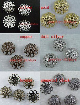Gold/Silver/Copper/Bronze Plated Flower Bead Caps 300 9mm/250 12mm/150 16mm
