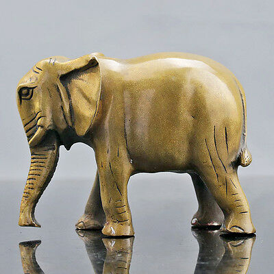 Chinese Collection Brass Hand Carved Lucky Elephant Statue D231