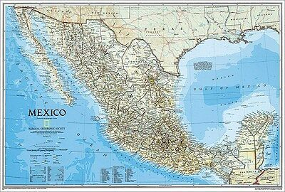 National Geographic RE00620160 Map Of Mexico Laminated Finely Detailed