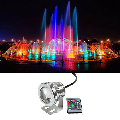 10W 12V RGB White LED Underwater Spot Light IP68 Waterproof Pond Aquarium Lamps