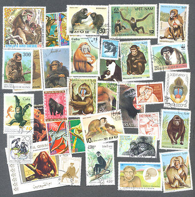 Monkeys-Apes-few lemurs-100 all different stamp packet collection