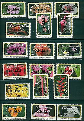 Cook Islands 2010 Flower definitive set with OHMS gold opt #O70-87 MNH CV $94.10