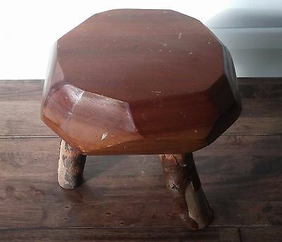 Rustic Solid Wood Small Milking Style Stool