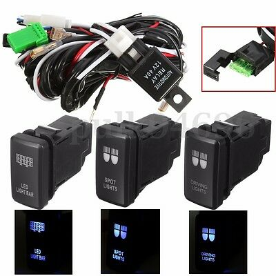 For TOYOTA LED Driving Spot Light Bar Wiring Loom Harness 40A Switch Relay Kit