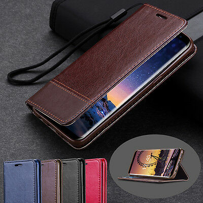 Genuine PU Leather Wallet Stand Flip Case Cover for Samsung Galaxy S8/S8 Plus