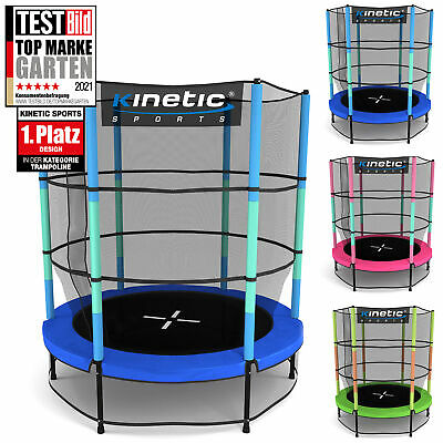 KINETIC SPORTS Kinder Trampolin mit Sicherheitsnetz Indoor Jumper Fun 140cm