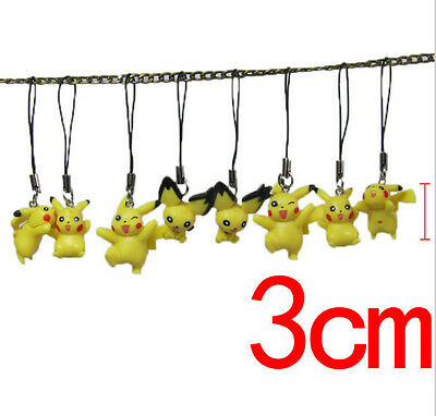 8pcs/lot Anime Pokemon Go Cell Phone Strap PVC Figures Keychain Handbag Charms