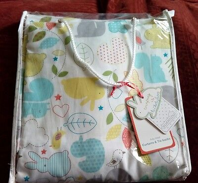 New TICKETY BOO Lined Tab Top curtains with tiebacks BNIP