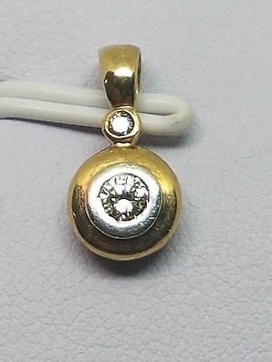 100% GENUINE 9ct YELLOW GOLD  2 DIAMOND  BEZEL SET PENDANT   - BEAUTIFUL