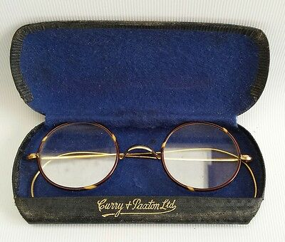 Vtg Tortoiseshell & Gold 1/10 10ct Spectacles Reading Glasses Case Curry Paxton