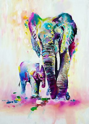 Stunning Abstract Elephant & Baby Canvas Print - A0, A1, A2