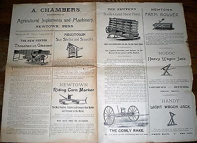 c1890 Advertising Broadside AGRICULTURAL IMPLEMENTS & MACHINERY ~ NEWTOWN, PA