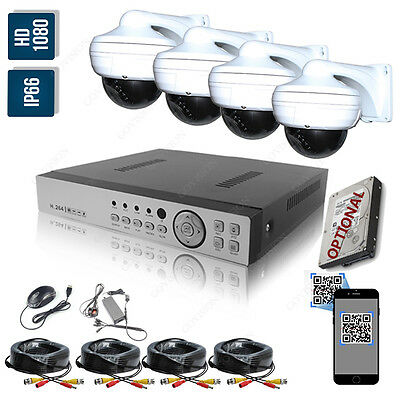 Home Security CCTV System Kit 4 Channel HD 2.0MP 1080P Night Vision Outdoor DVR