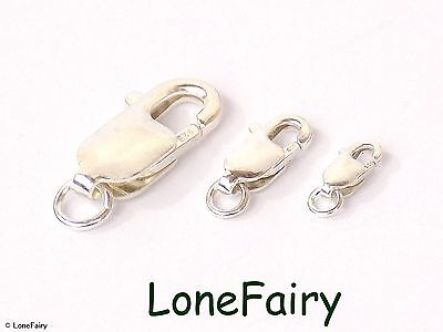 Solid 925 Sterling Silver Lobser Clasp with Jump Ring Choose Size Findings