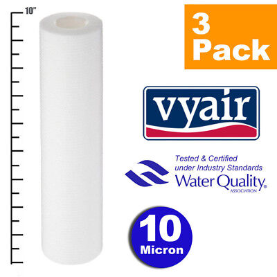 """VYAIR 10"""" PP 10 Micron Particle / Sediment / Reverse Osmosis Water Filter x 3"""