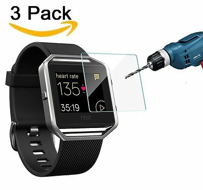 3 Pack Anti Bubble Tempered Glass Screen Protector for Fitbit Blaze Smart Watch