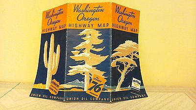 1936 Washington Oregon Highway map Union 76 Union Gear Oil Triton Motor Oil WOW!