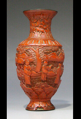 Chinese cinnabar lacquer vase, Qing dynasty