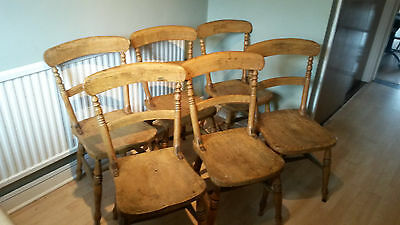 Set of 6 Victorian beech & elm country dining chairs