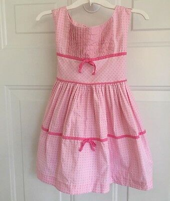 Vtg Toddler Girls 50s Pink Bow Sleeveless Sun Dress 2T