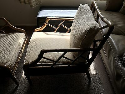 Pair Of Faux Chinese Bamboo Chippendale Style Lounge Chairs, Condition: Good