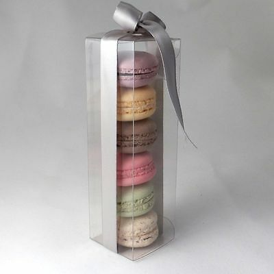 Clear medium macaroon / macaron boxes for 6 macarons: pack sizes 10 to 500