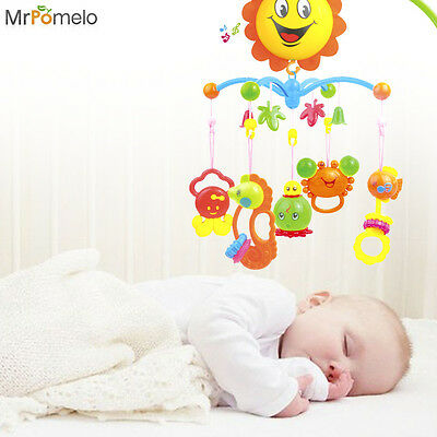 Musical Crib Mobile Bed Bell Baby Rattle Rotating Bracket Projecting Newborn Toy