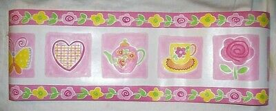 NEW Tea Cup Butterfly Hearts Pink Yellow Wallpaper Wall Border 5 yards