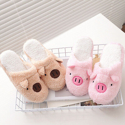 Women Boy Girl Slippers Lovely Pig Home Indoor Floor Soft Stripe Female Shoes