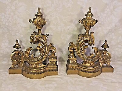 Vintage Pair of Gilt Bronze Louis XVI Style Chenet Firedogs Gold Coloring Great