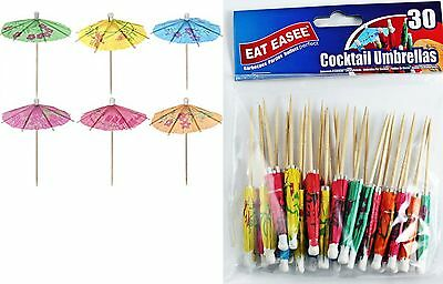 30 x Cocktail Sticks With Paper Umbrellas Parasols Decoration Tropical Pack