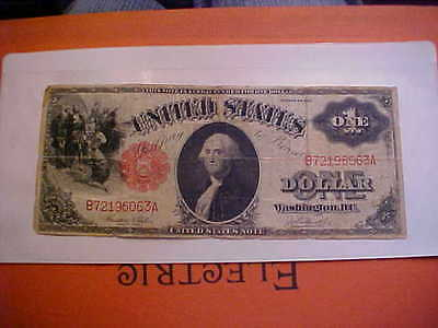 1917 Large Note $1 Dollar Bill Red Seal US Currenc, ONE #B72196063A