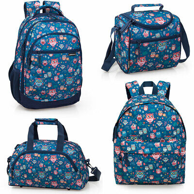Girls Ladies Blue Backpack Rucksack School College Travel Work Laptop Bag OWLS