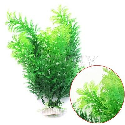 "12"" Ornament Artificial Green Plant Grass Fish Tank Aquarium Fake Plastic Decor"