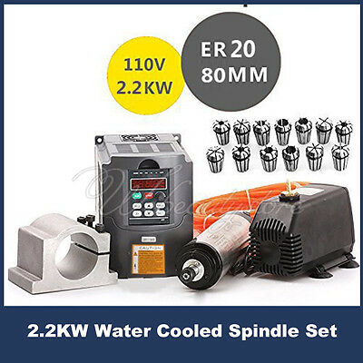 2200W 2.2KW Water Cooled CNC Spindle Motor+Inverter Converter+Collet+Pump+Clamp