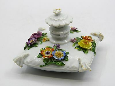 Meissen Beautiful Antique Perfume Bottle With Encrusted Flowers.
