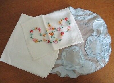 Collection Vintage Linen Tablecloth Embroidered Tray Cloth Dressing Table Set